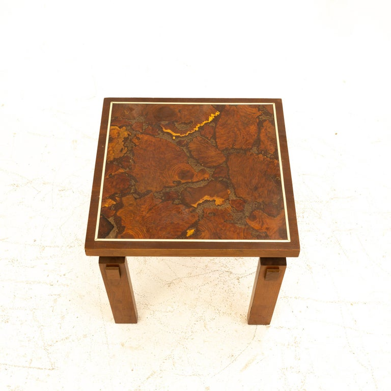Lane Mid Century Walnut and Live Edge Inlaid Side End Tables, Pair For Sale 2