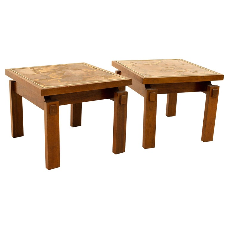 Lane Mid Century Walnut and Live Edge Inlaid Side End Tables, Pair For Sale