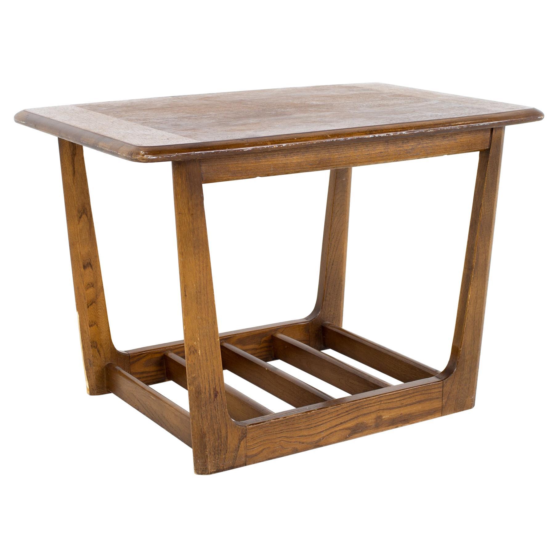 Lane Mid Century Walnut Sleigh Leg Side End Table