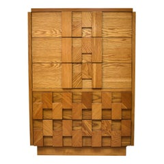 Lane Mosaic Brutalist Style Tall Chest