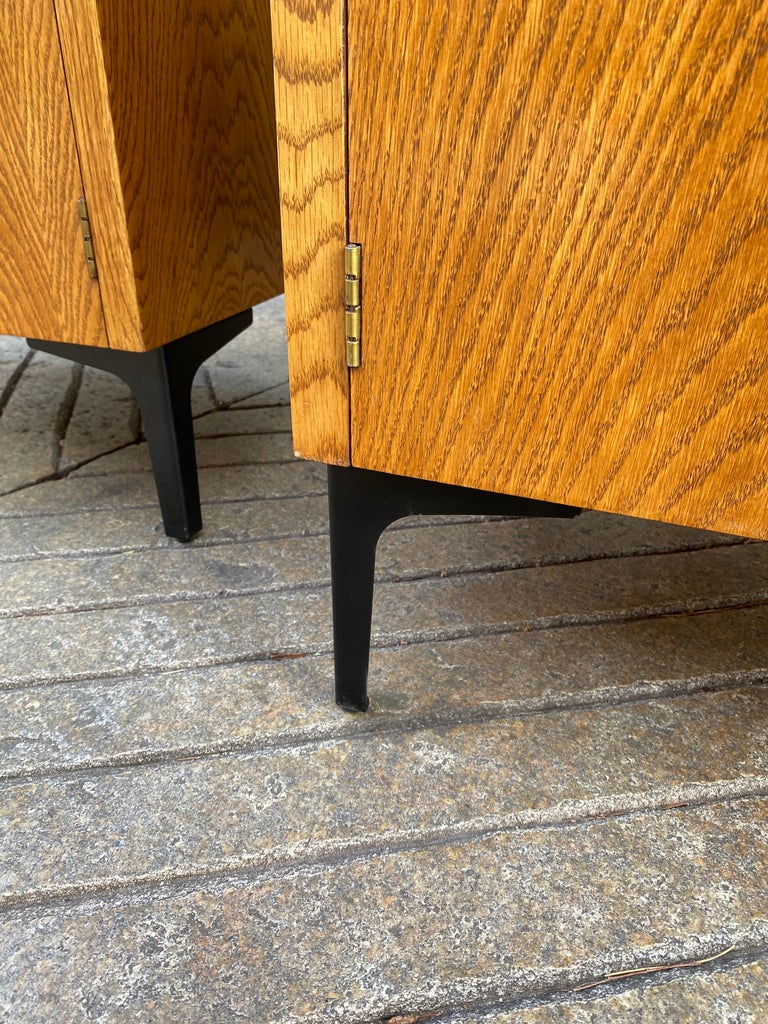 Metal Lane Pair of End Tables or Nightstands For Sale