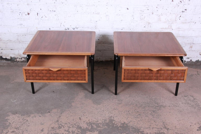 Mid-20th Century Lane Perception Mid-Century Modern Walnut End Tables, Pair For Sale