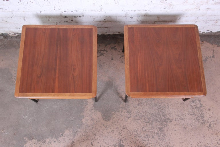 Lane Perception Mid-Century Modern Walnut End Tables, Pair For Sale 1