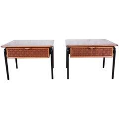 Lane Perception Mid-Century Modern Walnut End Tables, Pair