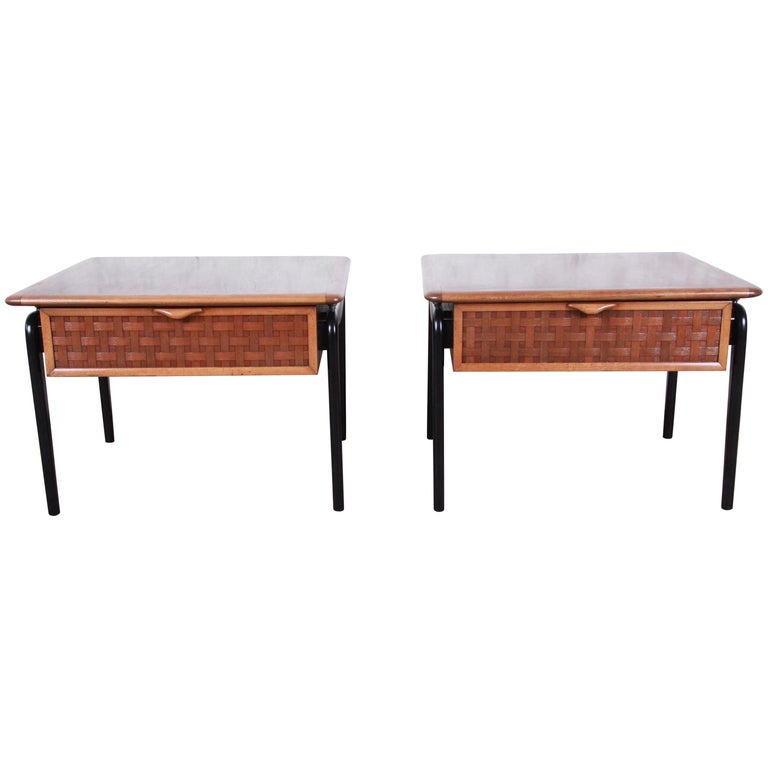 Lane Perception Mid-Century Modern Walnut End Tables, Pair For Sale
