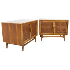 Lane Perception Mid Century Nightstands or Record Cabinets, a Pair