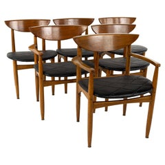 Lane Perception Midcentury Walnut Cats Eye Dining Chairs, Set of 6