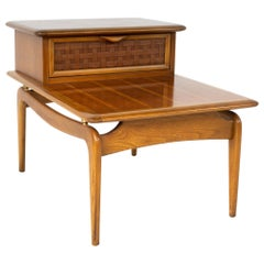 Lane Perception Midcentury Walnut Step Side Table