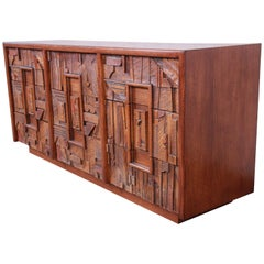 Lane Pueblo Brutalist Mid-Century Modern Oak Long Dresser or Credenza, 1970s