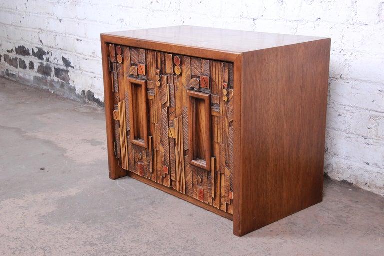 American Lane Pueblo Brutalist Mid-Century Modern Oak Nightstand For Sale