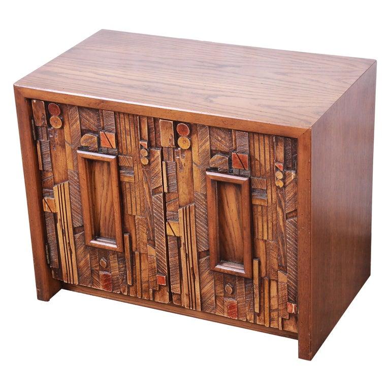 Lane Pueblo Brutalist Mid-Century Modern Oak Nightstand For Sale