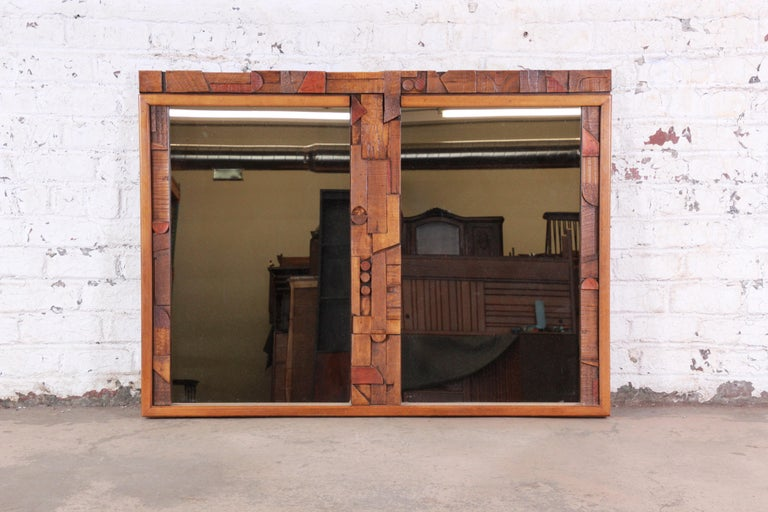 Pueblo Mid-Century Modern Brutalist double mirror  Made by Lane Furniture Co.  USA, 1970s  Mirror and oak  Measures: 55