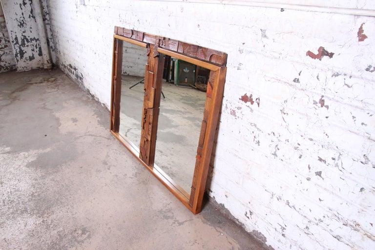 American Lane Pueblo Mid-Century Modern Brutalist Double Mirror For Sale