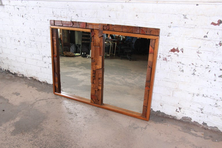 Lane Pueblo Mid-Century Modern Brutalist Double Mirror In Good Condition For Sale In South Bend, IN