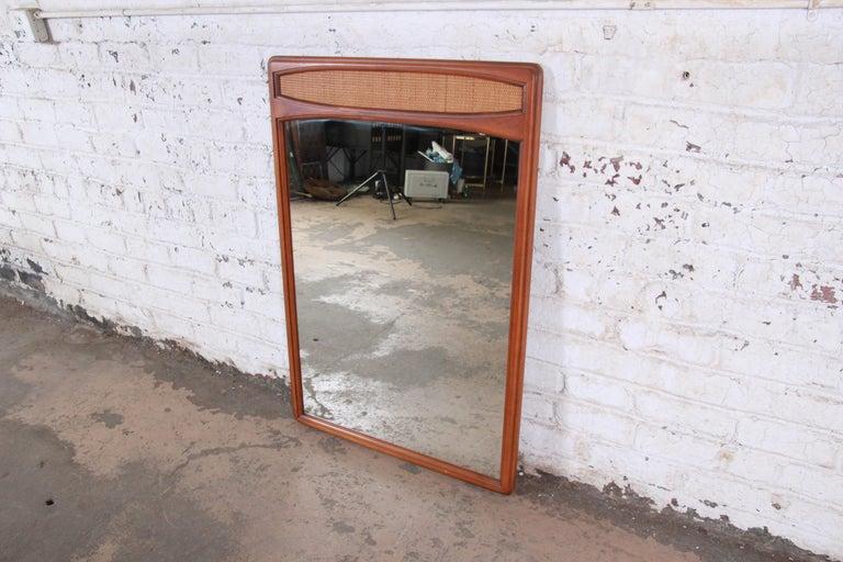 American Lane Rhythm Mid-Century Modern Cane and Walnut Framed Mirror