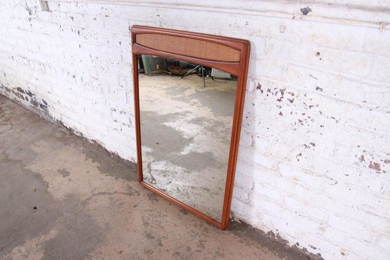Mid-20th Century Lane Rhythm Mid-Century Modern Cane and Walnut Framed Mirror
