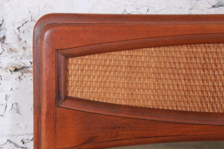 Lane Rhythm Mid-Century Modern Cane and Walnut Framed Mirror 2
