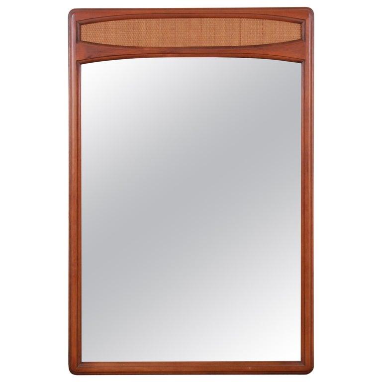 Lane Rhythm Mid-Century Modern Cane and Walnut Framed Mirror