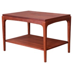 Lane Rhythm Mid-Century Modern Sculpted Walnut Side Table, Newly Refinished