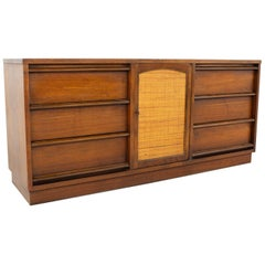 Lane Rhythm Midcentury 9-Drawer Cane Front Lowboy Dresser on Plinth Base