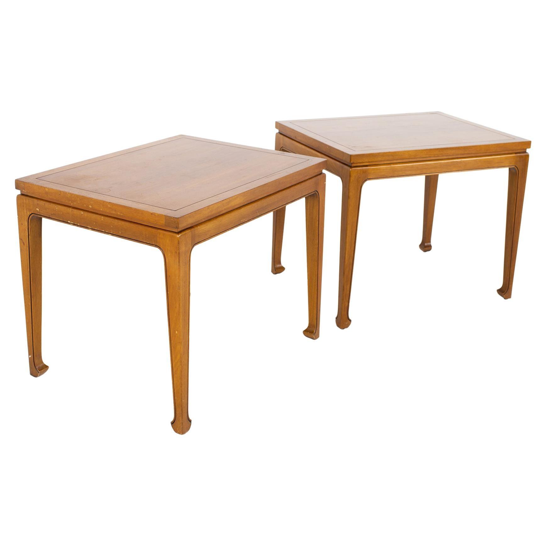 Lane Rhythm Style Fine Arts Furniture Company Mid Century Walnut Side End Tables