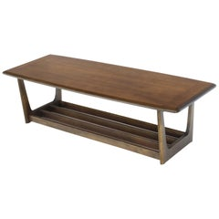 Lane Rounded Rectangle Shape Two-Tier Walnut Coffee Table