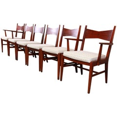 Lane Tuxedo Mid-Century Modern Sculpted Walnut Dining Chairs, Set of Six