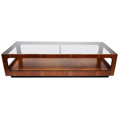 Lane Walnut and Smoked Glass Coffee Table