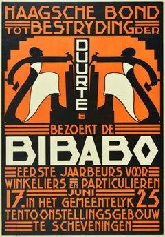 Original Antique Poster Haagsche Bond Bibabo Hague Fair Scheveningen Exhibition