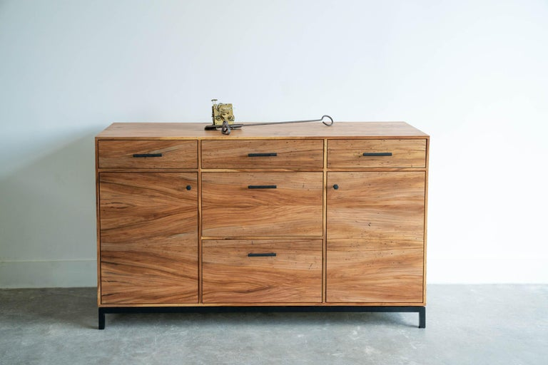 Wood Lanett Credenza in Elm  by Alabama Sawyer For Sale