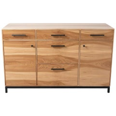 Modern Credenza in Sweet Gum (Satin Walnut) with Black Patina Steel Base