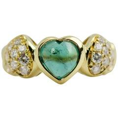 Lani F.LLI 18 Karat Yellow Gold 3 Hearts Tourmaline and Round Diamond Ring
