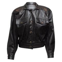 Lanna Black Cropped Leather Jacket