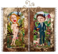 """Adam and Eve"", figurative painting in jungle greens, blues, and reds"