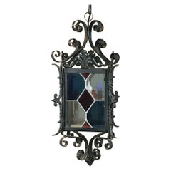 Lantern, Antique Wrought Iron with Stained Glass