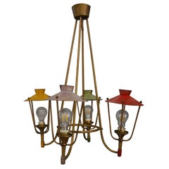 Italian Lantern Chandelier Midcentury, in Brass and color aluminum, 1950s