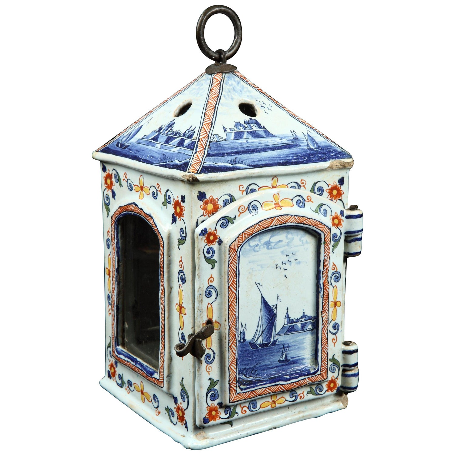Lantern, Delftware, mid-18th Century, Dutch, Polychrome, Tryhorn Collection