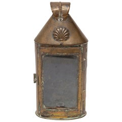 Lantern Handheld Portable Carrying Brass Repousse Georgian Glazed Candle