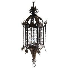 Lantern Iron Brass Spanish 18th Century Octagonal Pierced Coronets