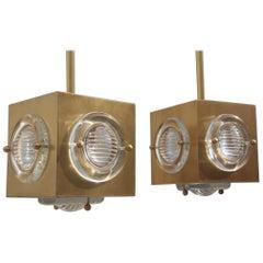 Lantern Modern Ceiling Lamp Satin Brass Glass Lens Night Club Bar Counter Cubic