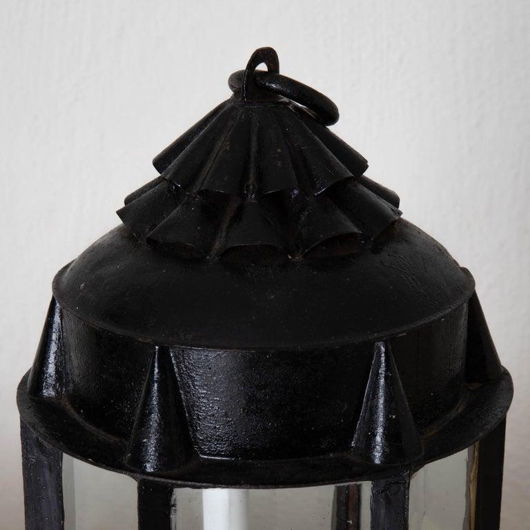 Folk Art Lantern Table Swedish 19th Century Black Painted Metal Sweden