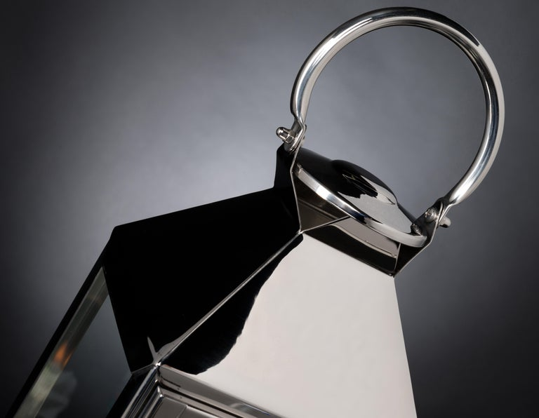 Modern Lantern Top Pyramid Shape, Stainless Steel, Italy For Sale