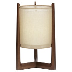 Lantern Wooden Bedside Round Table Lamp Interlock André Fu Living Modern Oak New
