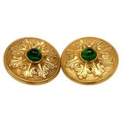 Lantuch Yellow Gold Cabochon Green Tourmaline Earrings