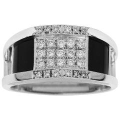 Lanvin 0.36 Carat Diamond Onyx Platinum Ring
