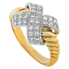 Lanvin 18 Karat Yellow and White Gold 0.45 Carat Diamond Ring