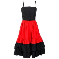 LANVIN 1970s cotton red and black ruffle skirt dress