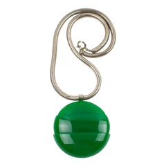 Lanvin 1970s Modernist Green Lucite Medallion Necklace with Snake Chain