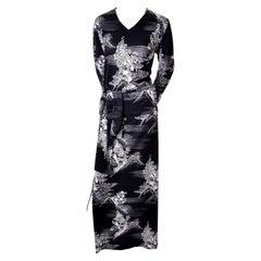 Lanvin 1970s Vintage 2pc Jersey Dress With Sash Black & White Print