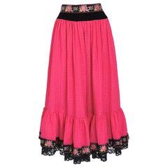 Lanvin 1970s vintage silk boho peasant style skirt